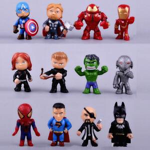 12mini Superhero Action Figures Cake Topper Avenger Men Spider Cool