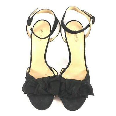 Michael Kors Black Suede Willa Open Toe Bow Sandals Womens Size US 7.5M