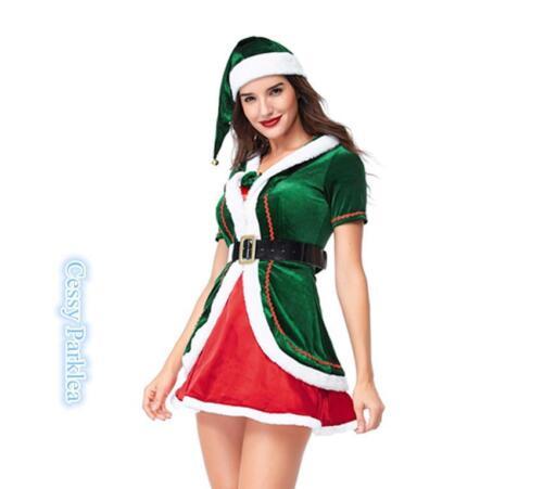 E4-2 Little Santa Xmas Helper Christmas Elf  Adult Lady/'s Fancy Dress Costume
