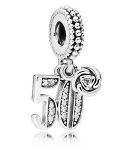 50th Birthday 925 Clip On Charm Sterling Silver Fifty