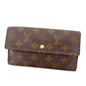 Louis-Vuitton-Wallet-Purse-Long-Wallet-Monogram-Brown-Woman-Authentic-Used-F1100