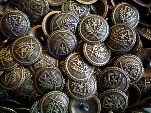 XM73 20mm 32L Aged Brass Effect Metal Regal Coat of Arms Crest Shank Buttons