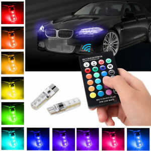 LED-T10-Remote-Control-W5W-501-RGB-Color-Changing-Car-Wedge-Side-Light-Bulbs-OU