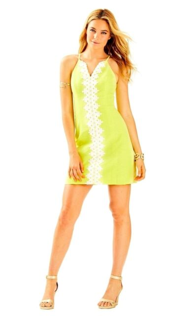 88a4b34ec532ba NWT Lilly Pulitzer $198 Pearl Shift Sweet Tarty Yellow Lace Dress 00 #26111  NEW!