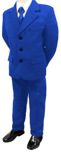 BRAND NEW BOYS FORMAL 5PIECE SUIT BOY PROM WEDDING SUIT ROYAL BLUE AGES 1 TO 15
