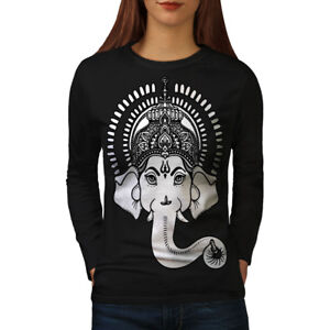 Wellcoda-Indian-Art-Ganesha-Womens-Long-Sleeve-T-shirt-Hindu-Casual-Design