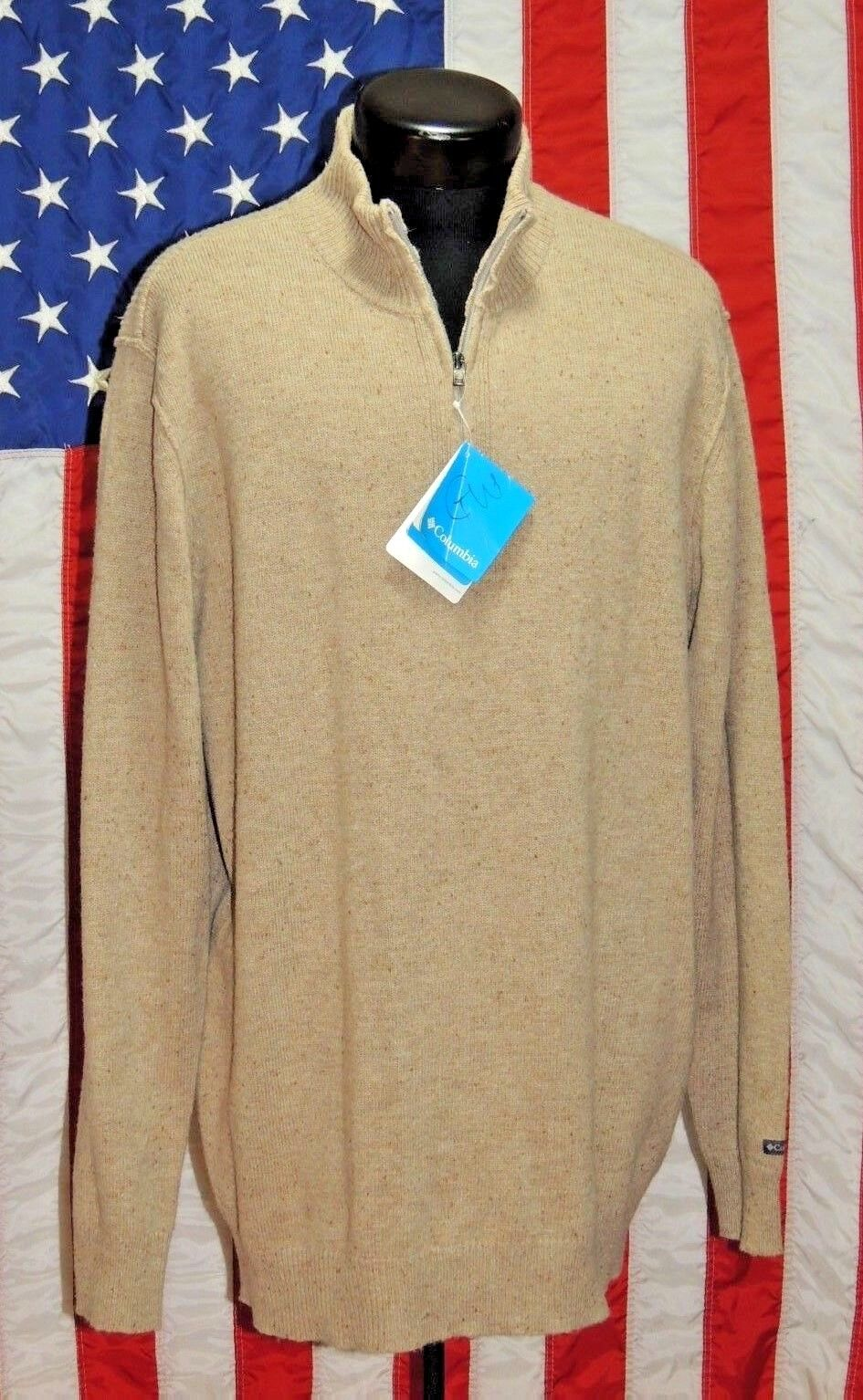 NWT Columbia Sportswear XL  Wool Blend Sweater Pull Over Tan 1 4 Zip Hiking Sweat  wholesale price and reliable quality