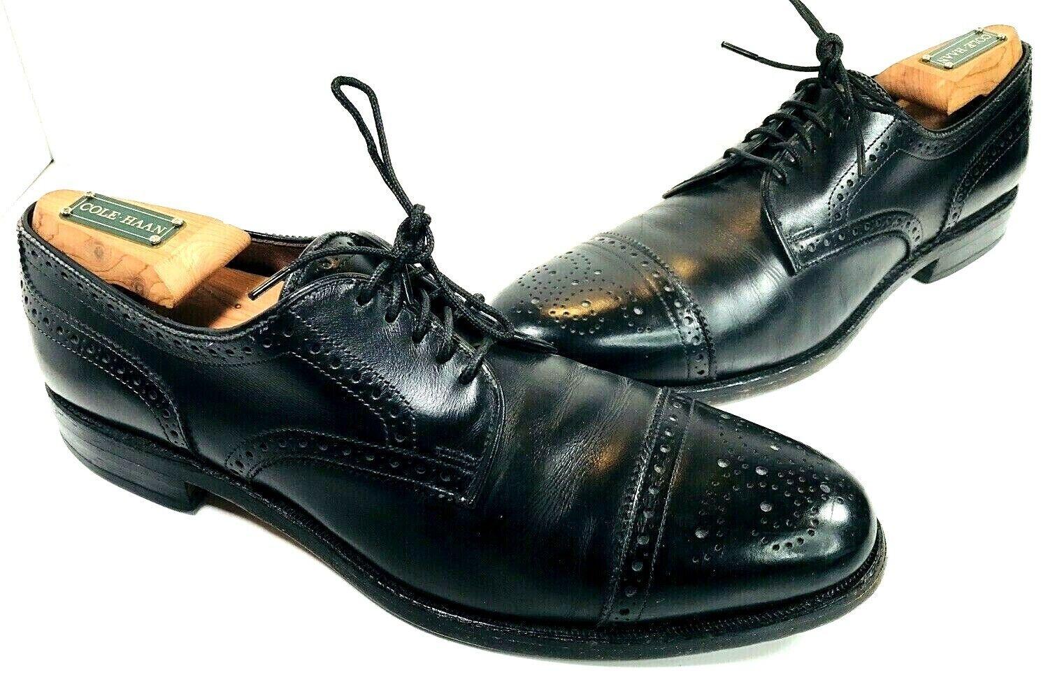 Allen Edmonds Sanford Mens Black Wingtip Oxfords Brogue Cap Toe Sz 9 A