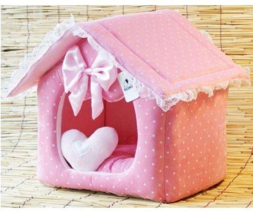 New Sweet Princess Cute Pink bluee Pet Dog Cat Sofa Bed House M,L