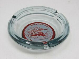 Rare Vintage Red and White Fleet Boat Blue Glass Ashtray San Francisco Pier 39