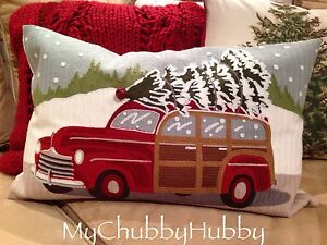 Nwt Pottery Barn Woody Wagon Christmas Pillow Cvr Vintage