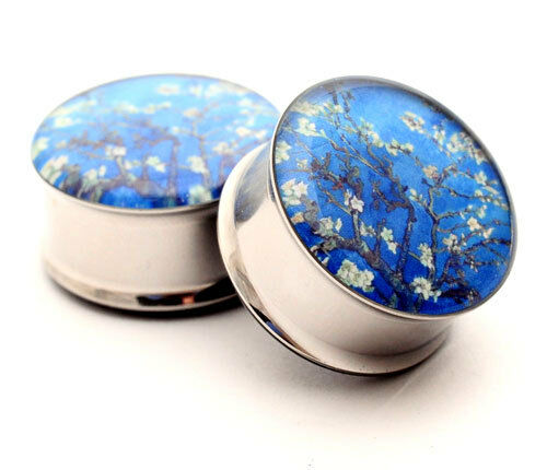 Pair of Van Gogh Almond Blossoms Picture Plugs gauges Choose Size new