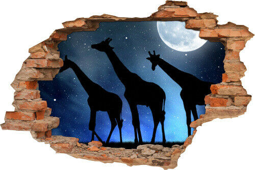 show original title Details about  /3D Wall Picture Wall Tattoo Wall Sticker Giraffe Night Moon Stars Animal Black