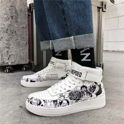 """Anime Cartoon /""""One Piece/"""" Theme Casual High Top Basketball Shoes Unisex Sneakers"""