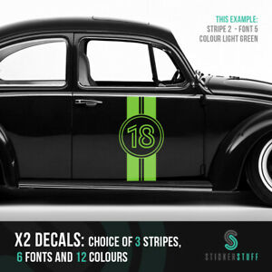 Details about Large personalised racing number stripe van or car side  stickers x2 gloss vinyl
