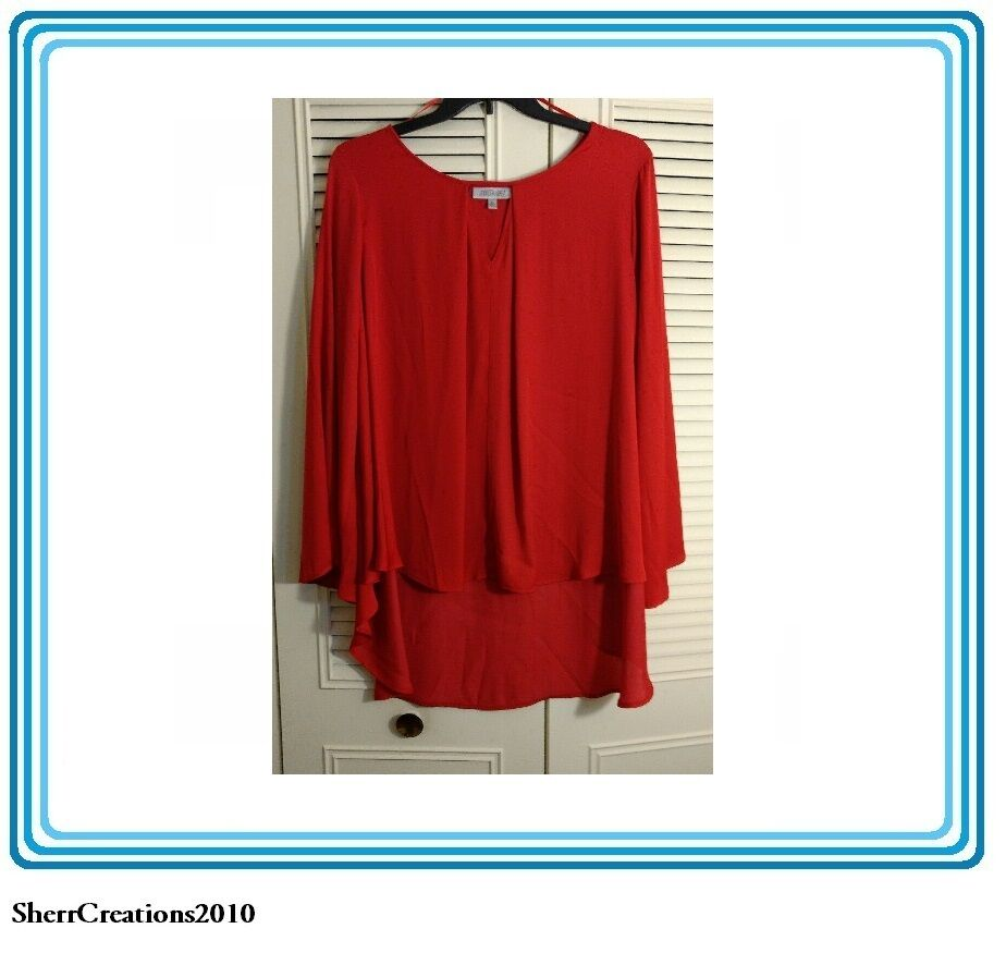 NWT Jennifer Lopez Women's Plus Size Blouse Shirt Top in Red MSRP