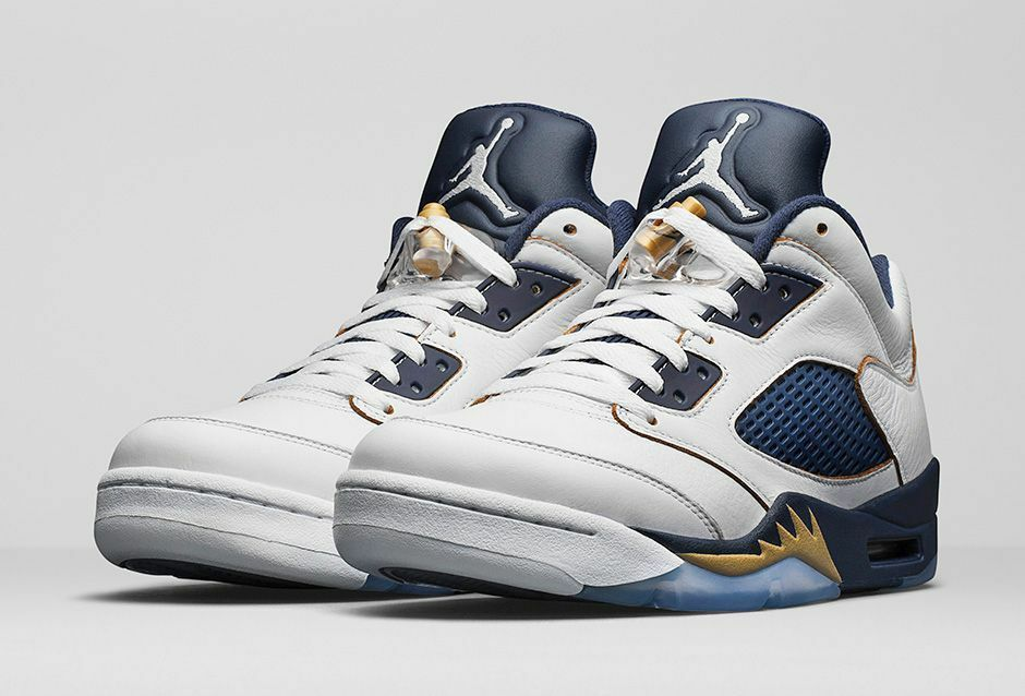 quality design 47a97 3842d Nike Air Jordan 5 Low Dunk From Above Size 9-11 White Gold Navy 819171 135