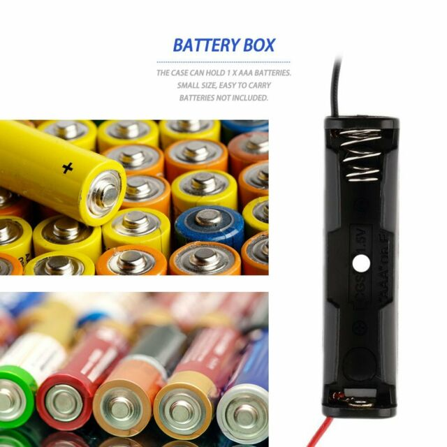 Plastic Battery Storage Case Box Holder for 1-AAA Battery with 6'' Cable Lead G