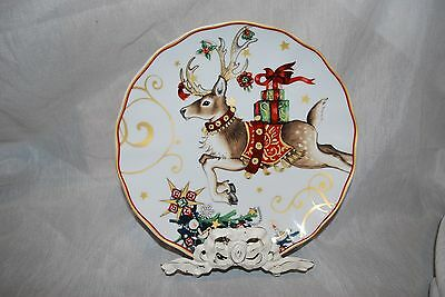 set//4 New Williams Sonoma Twas Night Before Christmas Reindeer salad plates