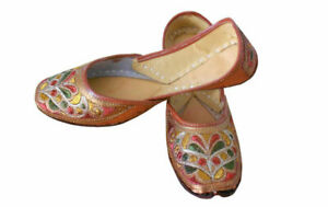 Women-Shoes-Indian-Handmade-Jutties-Leather-Brown-Flat-Ballerinas-UK-3-5-EU-36