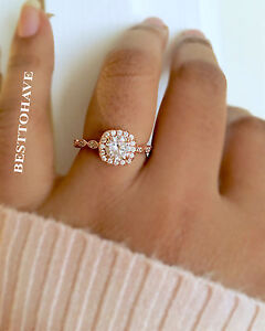 Image Is Loading Las 925 Sterling Silver Rose Gold Halo Wedding