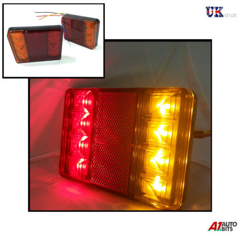 2 x 12V LED REAR TAIL LIGHT LAMPS TRAILER CARAVAN VAN HORSEBOX WATERPROOF 8 LED