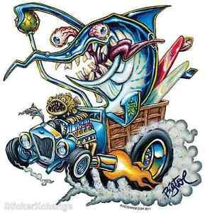 Sword-Fink-Surfer-Hotrod-Woody-Burnout-Sticker-Decal-Art-Big-Toe-BT41-Roth-Like