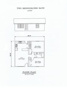 780 square foot two bedroom house plan ebay for 780 square feet house plan
