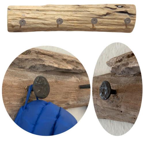 Vintage Wandgarderobe Teak-Holz 4 Haken Baumstamm Garderoben-Leiste Garderobe