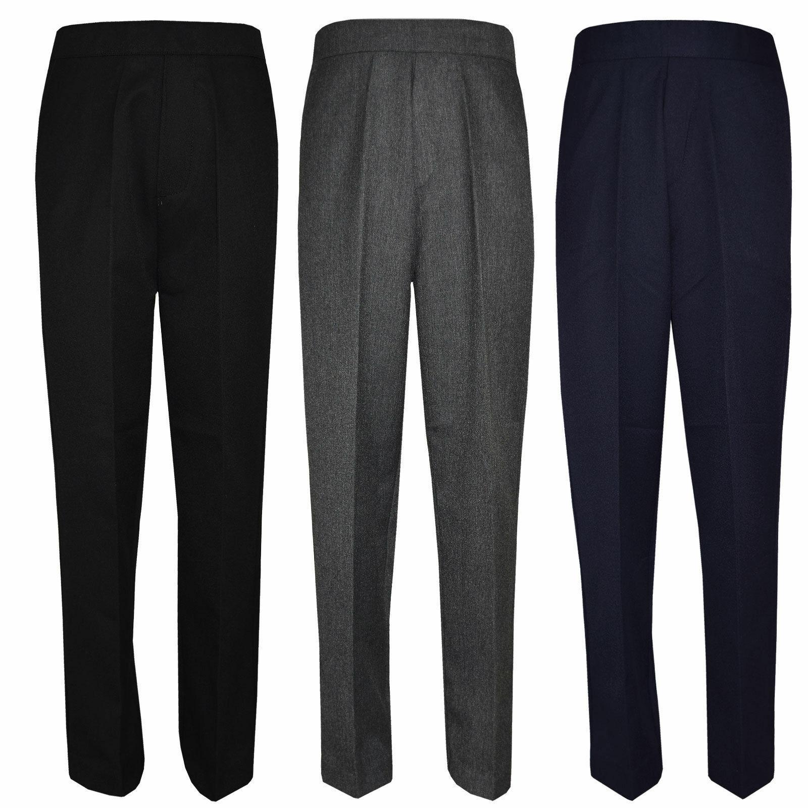 Boys// Kids Pull Up School Uniform Trousers Age 1-13 Yrs Half Elasticated Teflon