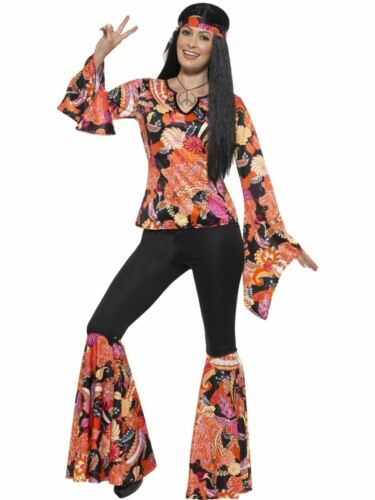1960s 1970s Flower Groovy Hippy Hippie Costume Womens Fancy Dress Ladies Outfit