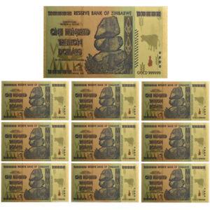 10pcs-Zimbabwe-100-Trillion-Dollars-Banknote-Gold-Foil-Bill-World-Money-Collect