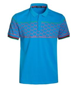 New-Mens-Short-Sleeve-Polo-Shirt-Slim-Fit-Stretch-Blue-Red-Pattern-Green-Accent