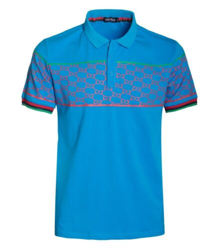 New Mens Short Sleeve Polo Shirt Slim Fit Stretch Blue Red Pattern Green Accent