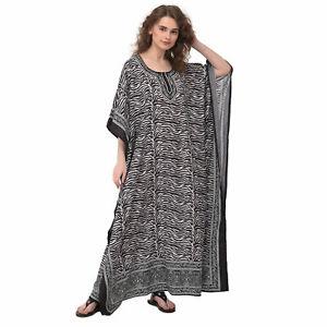 Women Kaftan Plus Size Dress Maxi Caftan Kimono Sleeve Long Night Vintage Gown
