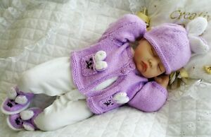Baby-Knitting-Pattern-dk-Rabbit-Cardigan-Hat-Boots-0-3-Months-17-to-22-Inch-Doll