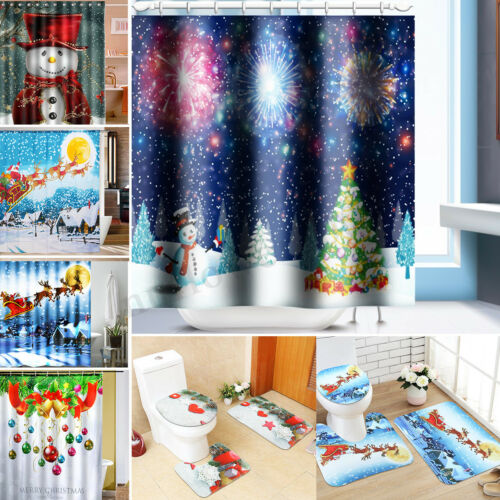 Shower Curtain Set 4X Christmas Types Non-Slip Home Toilet Pad Cover Bath Mat