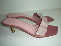 WOMENS DUSTY PINK LEATHER NINE WEST SLIDES SANDALS CAREER HEELS SHOES SIZE 7.5 M