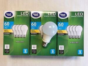 Great Value GVVLA6027ND4 8.5V Soft White LED Light Bulbs 4 Pieces