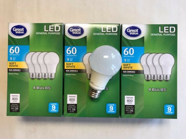 4 Pack E12 LED Bulb 60 Watt 500 Lumens Warm Soft White 2700K LED Candelabra Bulb