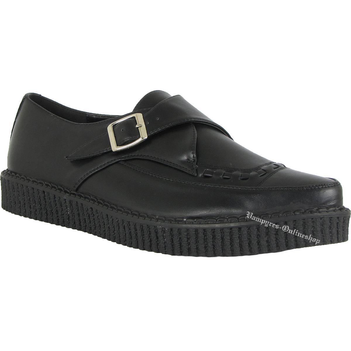 Los últimos zapatos de descuento para hombres y mujeres Industrial punk Creeper hebilla negro de cuero Creepers Buckle Black Noir Nero