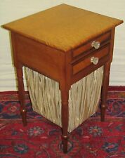IMPORTANT FEDERAL PERIOD BIRDS EYE MAPLE SEWING TABLE W/ PLEATED FABRIC BAG-LOOK