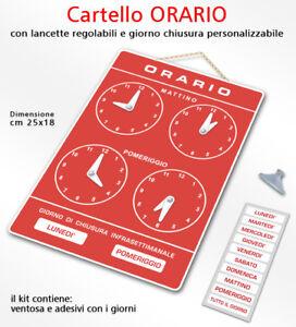 Cartello ORARIO regolabile apertura negozio/studio<wbr/>/laboratorio/o<wbr/>fficina/botteg<wbr/>a