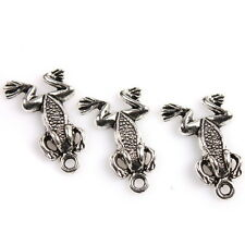 60pcs 146134 Antique Silver Tone Carved Dots Toad Animals Charms Alloy Pendants