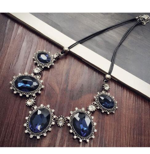 Vintage Oval Colgante Collar Corto de cinco Cristal Azul vendedor del Reino Unido