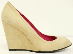 BUFFALO-LONDON-Pumps-Gr-38-D-Damen-Leder-Beige-Schuhe-Chaussures-Scarpe