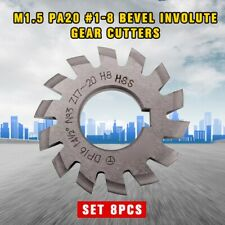 8pcs M1.5 PA20 #1-8 Bevel Involute Gear Cutters HSS Module 1.5 gear Bore 22mm