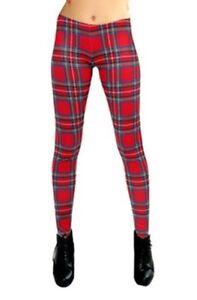 Women-039-s-Ladies-Red-Tartan-Print-Leggings-Goth-Punk-Emo-Rock-N-Roll-Size-8-22