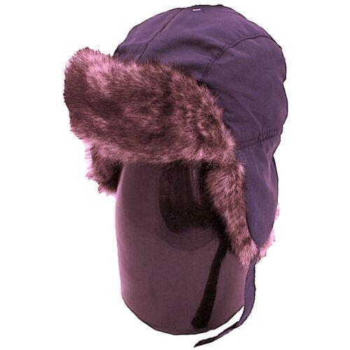 Bambini Ragazzi Blu Navy Trapper Hat con Finta Pelliccia Impermeabile Imbottito S//M L//XL Nuovo Inverno