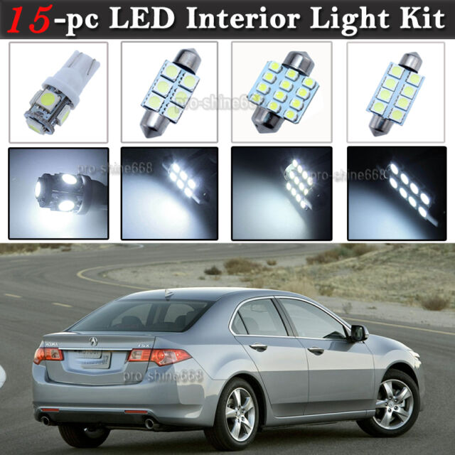 15-pc White LED Interior Light Package Kit Fit 2009-2014